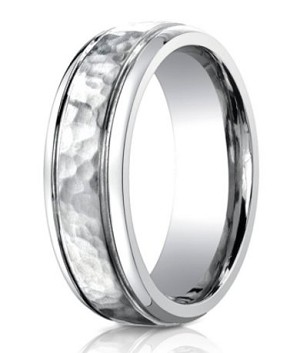 Designer Cobalt Chrome Men's Wedding Ring with Hammered Center | 7mm