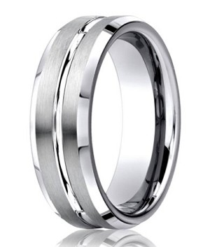 Designer Cobalt Grooved and Beveled Wedding Ring with Satin and Polished Finish | 7mm - JBCB1009