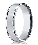 Designer Cobalt Rounded and Grooved Wedding Ring with Satin and Polished Finish | 6mm - JBCB1010