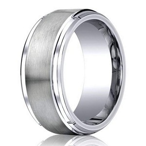 Designer Cobalt Chrome Wedding Ring with Satin Finish and Polished Stair Step Edge | 9mm - JBCB1021