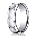Designer Cobalt Wedding Band with Concave Satin Finish and Polished Beveled Edges | 7mm - JBCB1023