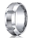 Designer Cobalt Chrome Men's Wedding Ring With Grooves | 10mm