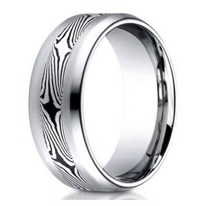 Designer Cobalt Chrome Men's Ring with Mokume Gane Center Band | 8mm
