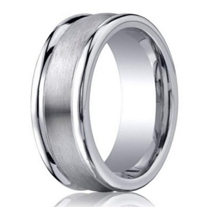 Designer Cobalt Chrome Polished Edge Men's Wedding Ring | 8mm