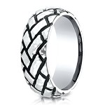 Blackened Tread Designer Cobalt Chrome Ring for Men | 9mm