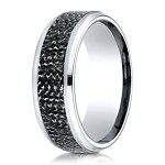 Cobalt Chrome Designer Men's Ring with Micro-Hammered Finish | 9mm