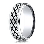Blackened Cross Hatch Designer Cobalt Chrome Ring for Men | 9mm