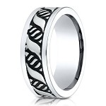 Cobalt Chrome Men's Designer Ring With Blackened Pattern | 10mm