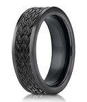 Black Tire Tread Designer Cobalt Chrome Men's Ring | 7.5mm