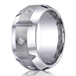 Benchmark Cobalt Chrome Men's Grooved Wedding Ring With Diamonds | 10mm
