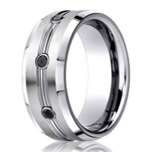 designer cobalt chrome mens wedding ring with black diamonds 75mm - Mens Black Diamond Wedding Rings