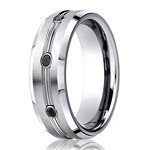 Benchmark Cobalt Chrome Men's Wedding Ring With Black Diamonds | 7.5mm