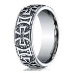Benchmark Cobalt Chrome Maltese Cross Ring With Black Diamonds | 9mm