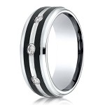 Benchmark Two Tone Cobalt Chrome  Men's Ring With Diamonds | 9mm
