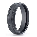 Men's Black Seranite Wedding Ring with Polished Grooves | 7mm - JBCS1002