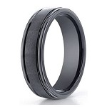 Men's Black Seranite Wedding Ring with Satin Finish and Polished Edges | 6mm - JBCS1005