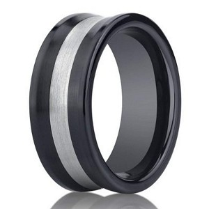 Designer Men's Seranite Wedding Ring with Silver Inlay | 8mm