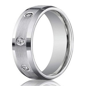 mens white gold diamond wedding ring with 8 round cut diamonds 6mm jbd1002 - Mens Diamond Wedding Rings White Gold