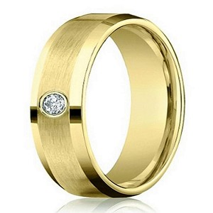 Men's 14K Yellow Gold Diamond Band with Satin Finish | 4mm - JBD1010