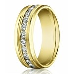 14K Yellow Gold Designer Men's Diamond Eternity Wedding Band | 8mm