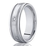Men's White Gold Diamond Wedding Band in 14K with Milgrain | 8mm