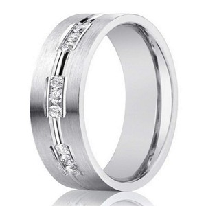 Designer 14K White Gold Wedding Band, 9 Channel Set Diamonds | 6mm