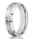 Men's Designer 14K White Gold Wedding Band, Bezel Set Diamonds | 6mm