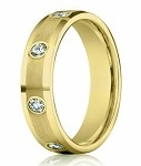Designer 14K Yellow Gold Diamond Eternity Band, Beveled Edge | 4mm