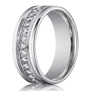 Men's Designer White Gold Diamond Eternity Ring, Channel Set | 4mm