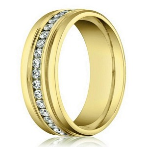 Designer Men's Diamond Eternity Wedding Band in 14K Yellow Gold | 6mm