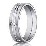 Men's 14K White Gold Wedding Band with Burnish Set Diamonds | 4mm