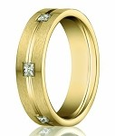 Burnish Set Diamond Eternity Wedding Band in 14K Yellow Gold | 6mm