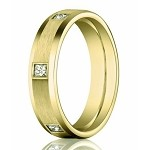 Men's 14K Yellow Gold Diamond Eternity Band, Beveled Edges | 4mm