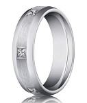14K White Gold Men's Burnish Set Diamond Ring, Eternity Style | 6mm
