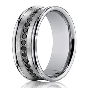 Black Diamond Designer Men's Wedding Ring in 14K White Gold | 7.5mm