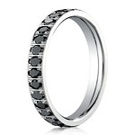 Designer 14k White Gold Pave Set  Black Diamond Eternity Ring, 2mm