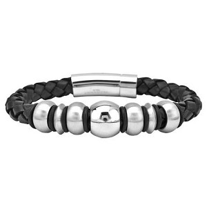 Men's Leather Bracelet with Rounded Metal Beads - JBR1004