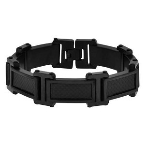 Men's Black Stainless Steel and Carbon Fiber Bracelet  - JBR1011