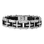 "Men's Stainless Steel Bracelet with Grooved Links and Black Rubber Insets | 8"" long - JBR1012"
