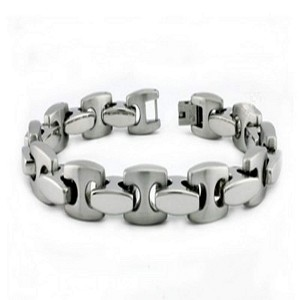 Men's Stainless Steel Bracelet With Alternating Finish Links