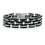 Men's Stainless Steel Bracelet With Black Rubber Accents