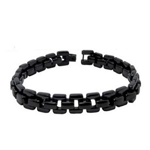 Men's Stainless Steel Bracelet With Black IP Square Links