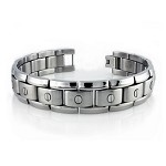 Men's Stainless Steel Bracelet With 14 Screw Accents