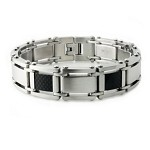 Men's Stainless Steel Bracelet With Black Carbon Fiber Inlay