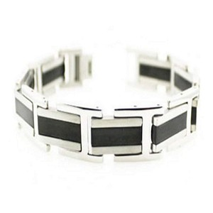 Men's Stainless Steel Bracelet With Black IP Center Band