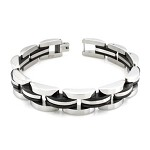 Stainless Steel Men's Bracelet With Black IP Accent Stripes