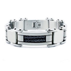 Stainless Steel Men's Bracelet With Black IP Cable Accents