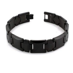 Men's Tungsten Bracelet With Black IP Coating and Cross Links