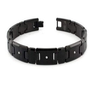 Men's Tungsten Bracelet With Black Finish and Three Diamonds