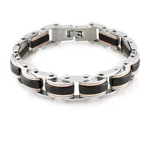 Stainless Steel Bracelet With Black and Rose Gold Tone Accents